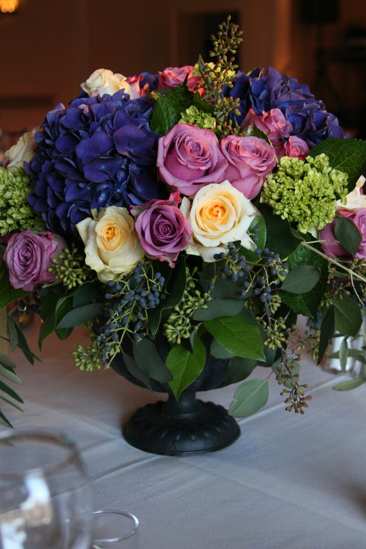Purple hydrangea centerpieces wedding pinterest