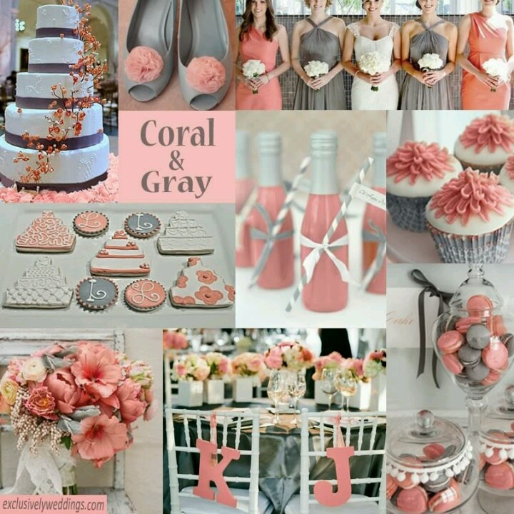 Coral & Grey... I love this color scheme