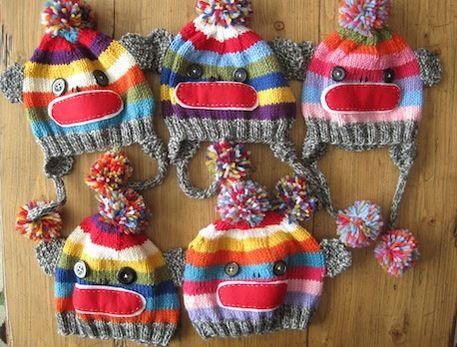 Sock Monkey Knit Hat - Free Pattern Knitted Toppers Pinterest