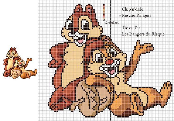 Chip 'n Dale cross stitch pattern