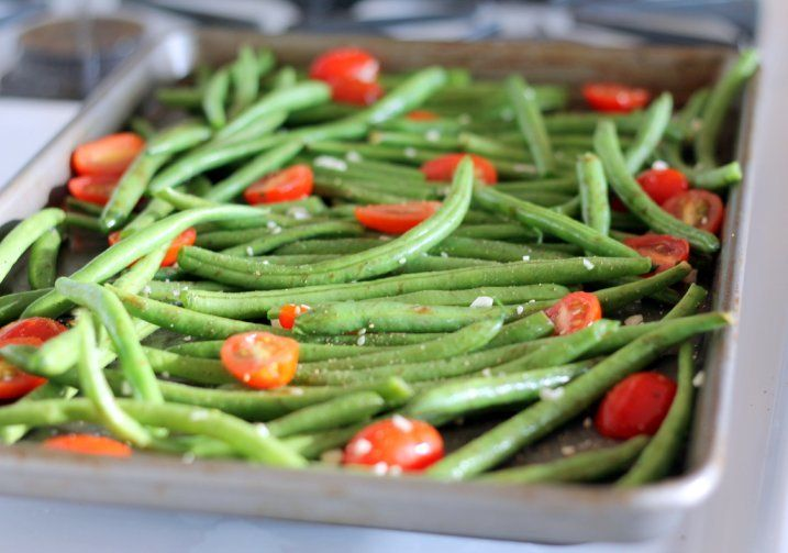 Ambitious Kitchen | Roasted Garlic Parmesan Green Beans with Tomatoes