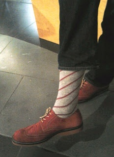 Mens red shoes and striped socks