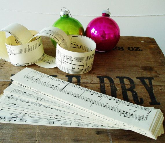 Paper Chain Kit Vintage Sheet Music Christmas DIY by sprinkles101
