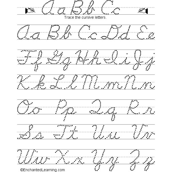Joined up writing alphabet