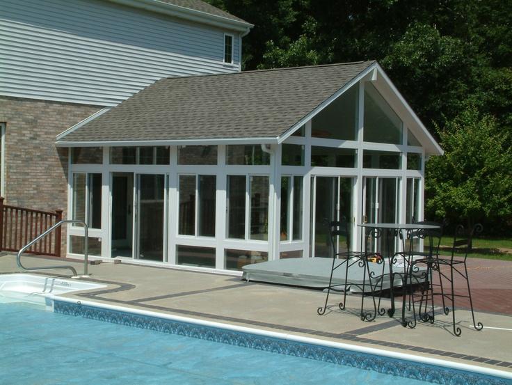 Vinyl sunroom with gable roof 4 season sunroom pinterest for Sunroom roofs