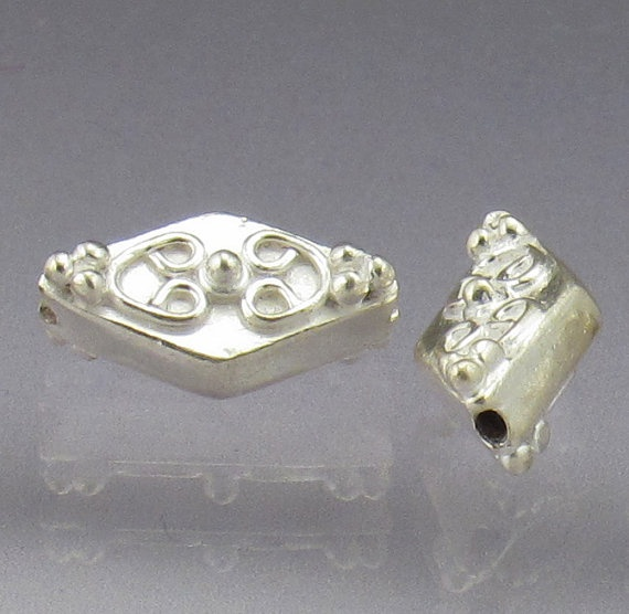 Sterling silver bead set diamond floral pattern by AnneLondezGlass, $14.00