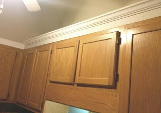 Adding crown molding to cabinets kitchen pinterest for Attaching crown molding to kitchen cabinets