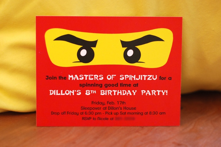Ninjago - Birthday Party Invitations. | Party | Pinterest