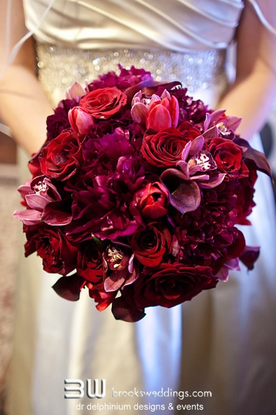 Dr Delphinium Bridal Bouquet Red Pink Maroon Burgundy