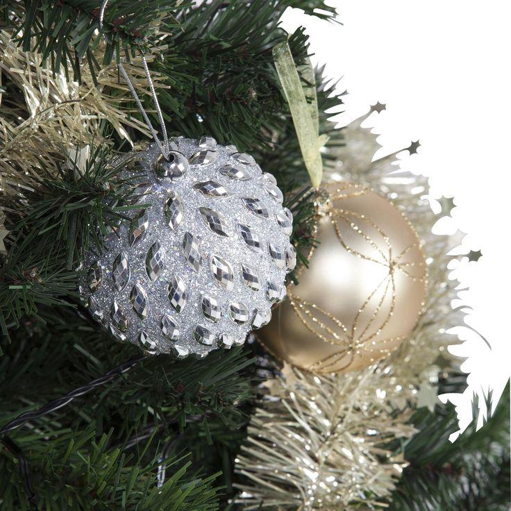 Boule argent à picots strass Perle - Charme sucré - Les boules de Noël - Les décorations du sapin - Noël - Décoration d'intérieur - Alinéa
