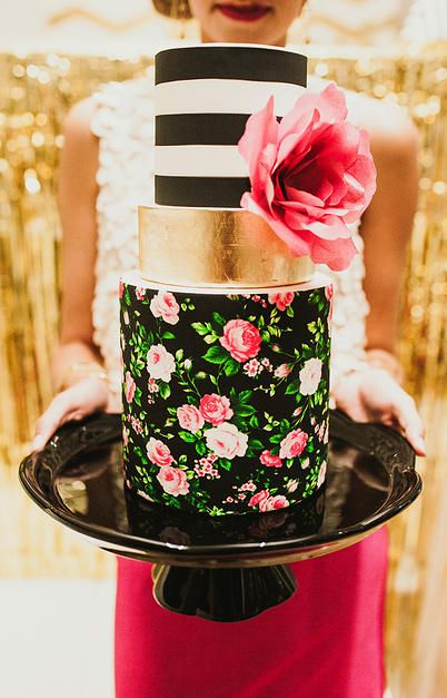 black, white + gold floral tiered wedding cake