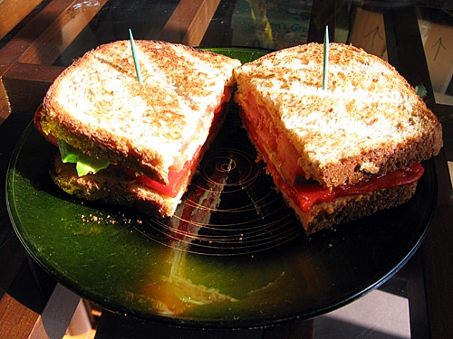 Panera Roasted red pepper and avocado sandwich. Mmmmmm!