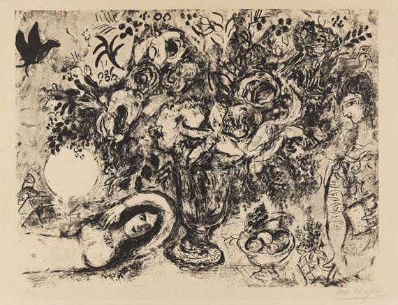 Chagall marc nackte mit blumen 1965 prints amp drawings pinter