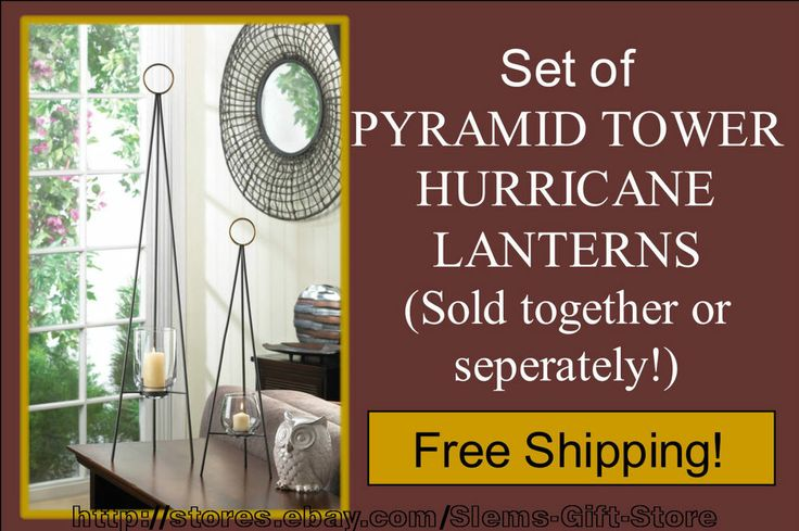 HURRICANE LANTERNS PYRAMID TALL HIGH TOWER METAL RODS & GLASS
