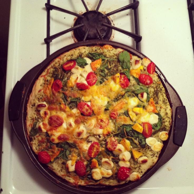Pesto, cherry tomatoes, mozzarella, spinach, cheddar, and butternut ...
