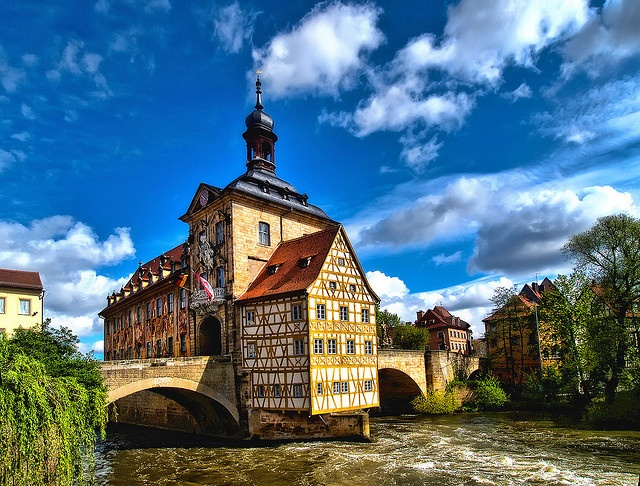 ... dating from the Middle-Ages along the river Regnitz, Bamberg, Bavaria