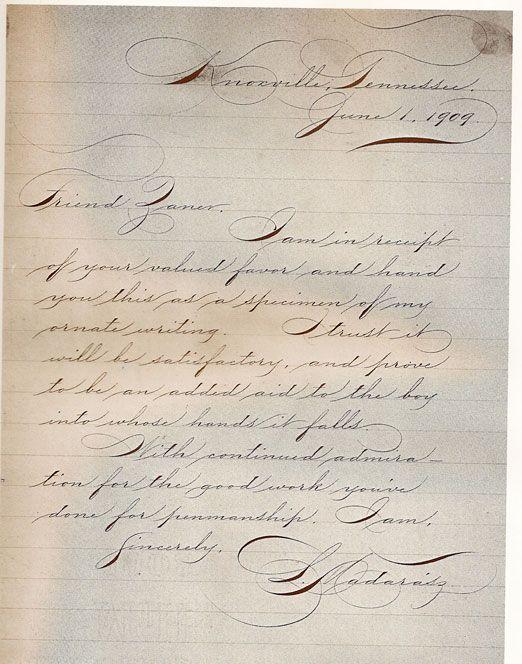 Spencerian Handwritten Pinterest