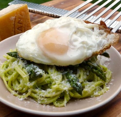 Pasta with asparagus and a fried egg. | Recipe by Michael Ruhlman ...