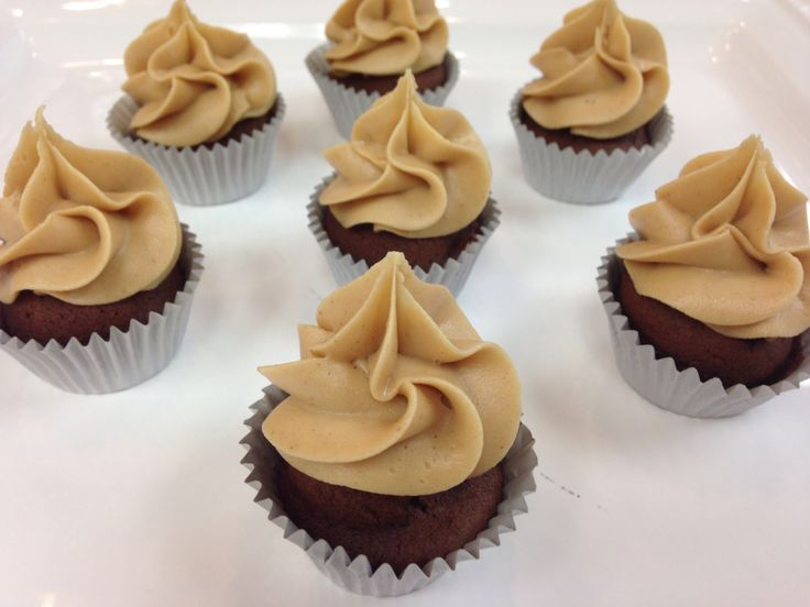 Mini cupcakes - chocolate with peanut butter frosting.