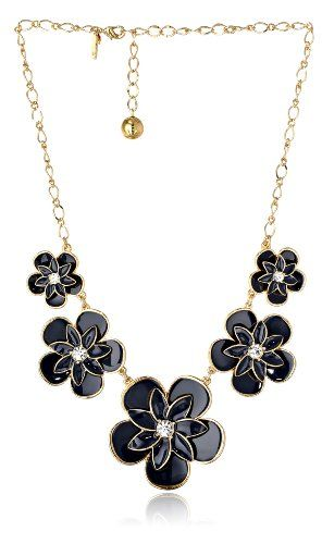 "kate spade new york ""Graceful Floral"" Navy Station Necklace, 22″"