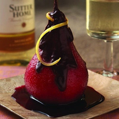 Poached Pears with Chocolate and Wine Sauce