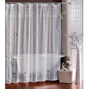 LORRAINE HOME Shower Curtain SHEER WHITE IVY LACE FABRIC