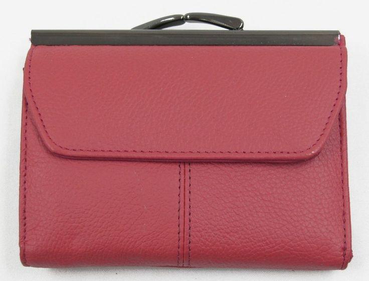 Red cowhide leather tri fold wallet 2 id windows change for 2 id window wallet