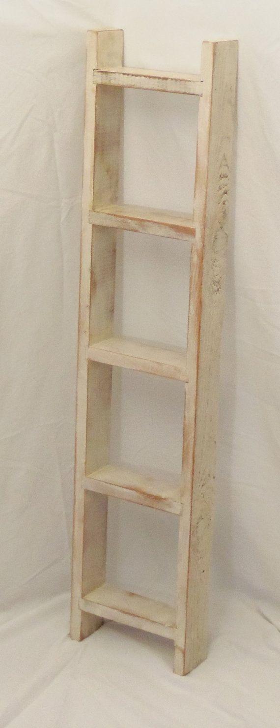 White Wooden Ladder Shelf by TheBaloneyBros on Etsy, $36.00