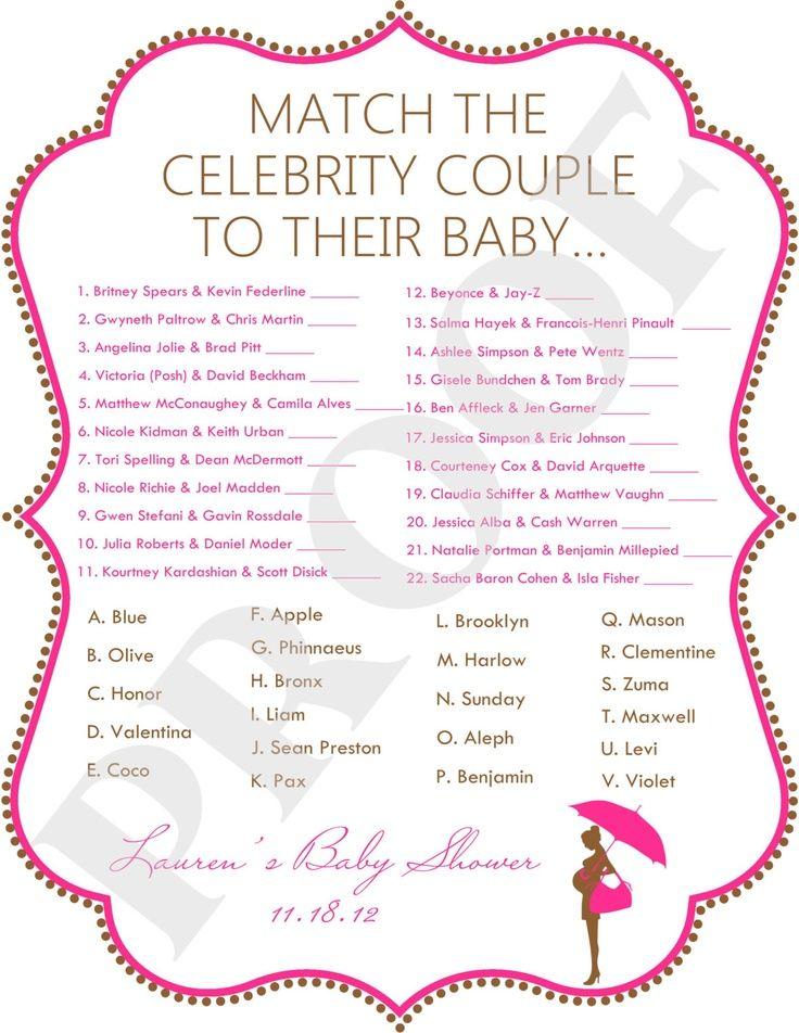 celebrity baby shower game baby shower ideas pinterest
