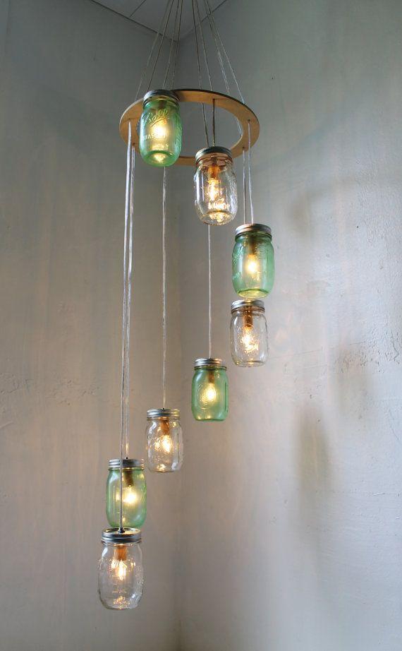 go green mason jar chandelier hanging light fixture