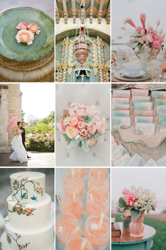 floral wedding invitations with mint green, peach and champagne gold - Google Search