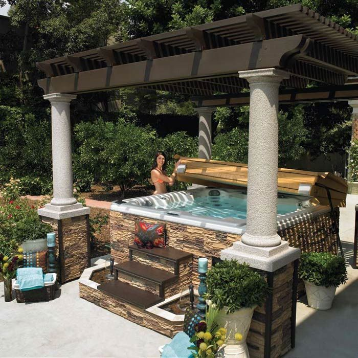 Hot Tub with Pergola  for my home  Pinterest
