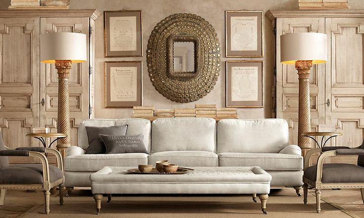 restoration hardware living room symmetry pinterest
