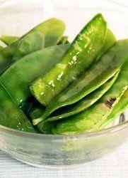 ... Easy Recipe: fresh snow peas, sesame oil, lemon juice, salt, pepper