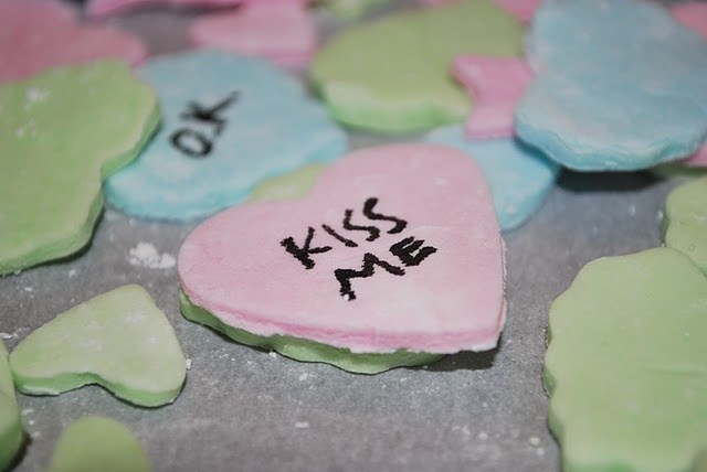 Homemade conversation hearts! Cute craft you can do with the kids.