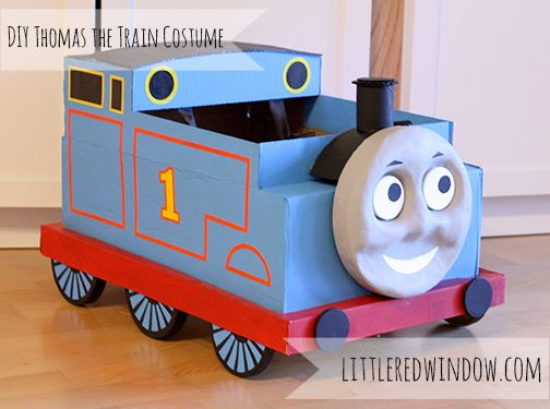 Train Halloween Costume made from a cardboard box! from Little Red