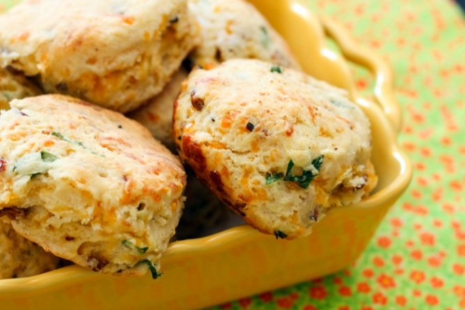 Cheddar Bacon Green Onion Biscuits - http://www.tablefortwoblog.com ...