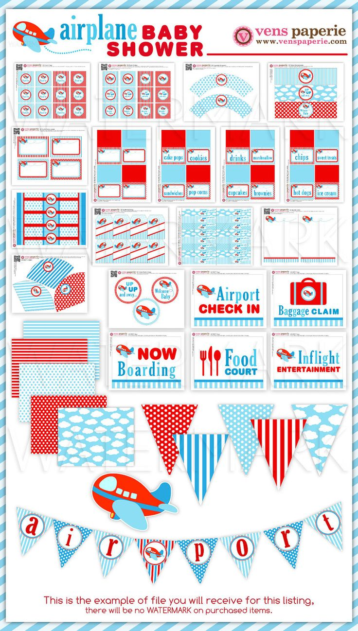 airplane baby shower package personalized full collection set print