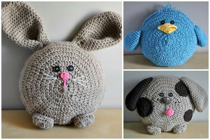 Crochet, animal pillows CROCHET/KNIT Pinterest