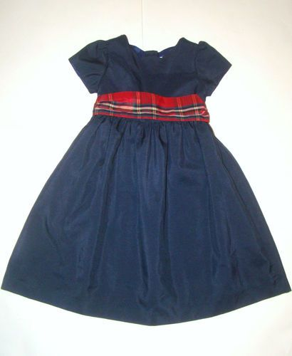 Navy blue red plaid bow holiday christmas fancy dress girl 4 4t euc