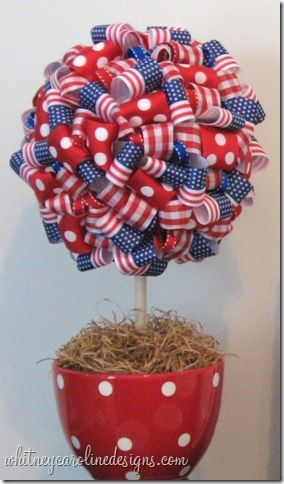 4th of July *Decoration* - Patriotic Ribbon Topiary (tutorial)