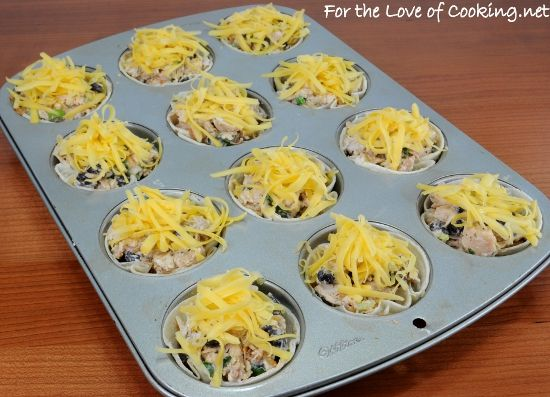 creamy chicken taco cups! made with tortillas!
