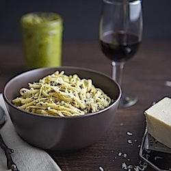 Sage and walnut pesto, perfect way to season a warm bowl of pasta.
