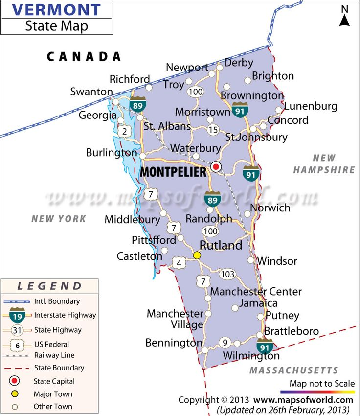 Map Of Vermont  New England Maps  Pinterest