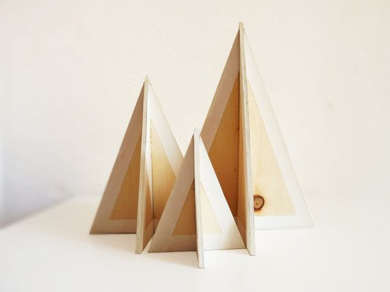3 wooden christmas trees plywood 3d trees painted white for Plywood christmas tree