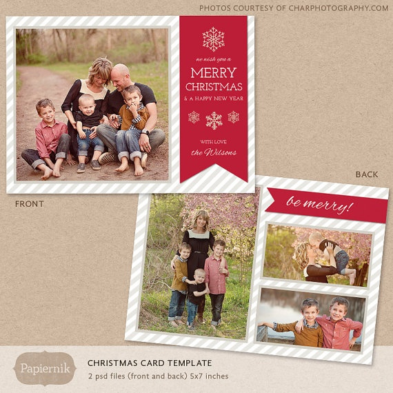 Digital photoshop christmas card template for photographers psd flat for Photoshop christmas cards templates