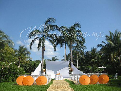 orange and white garden ceremony