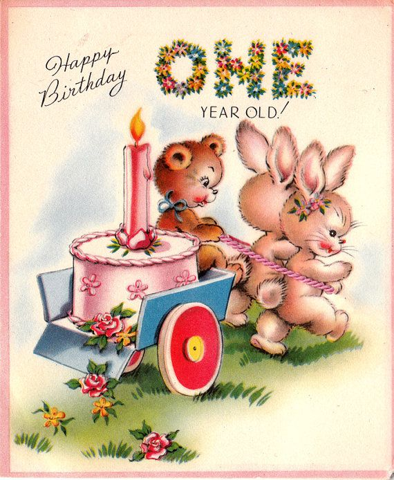 Vintage 1951happy Birthday One Year Old Greetings Card B66 Happy Birthday Wishes For A 1 Year