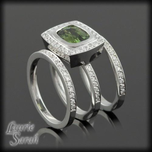 Horizontally Bezel Set Green Sapphire Wedding Set with Diamond Halo and Two Diamond Bands - LS2067