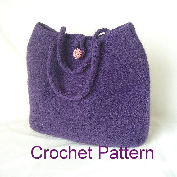 Easy Crochet Bag Pattern Tutorial pdf, Classic Felted Bag Crochet Pat ...